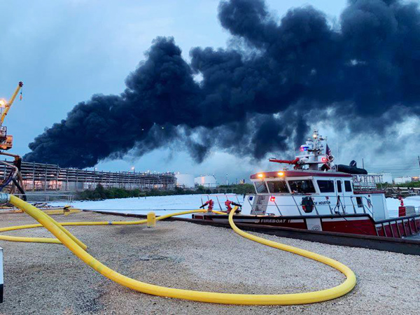 Brand im petrochemischen Cluster am Houston Channel (Foto: Houston Port Authority)